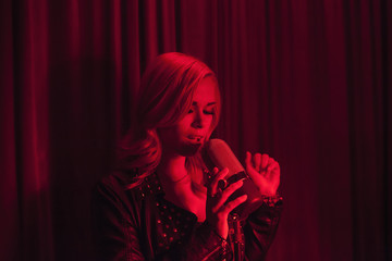 Young woman performing in a nightclub