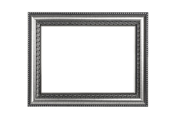 Silver picture frame isolated on white with clipping path.