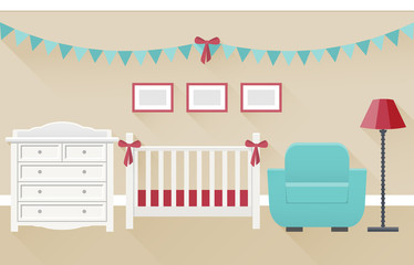 Bedroom interior for newborn baby and parents in flat style. Modern family room design with white furniture. Vector illustration.