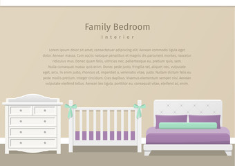 Modern family bedroom design in flat style. Room interior for newborn baby and parents with white furniture. Vector illustration. Background.