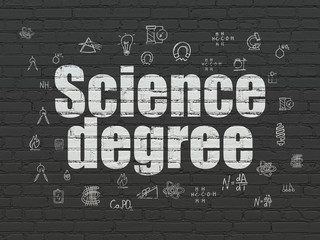Science concept: Science Degree on wall background