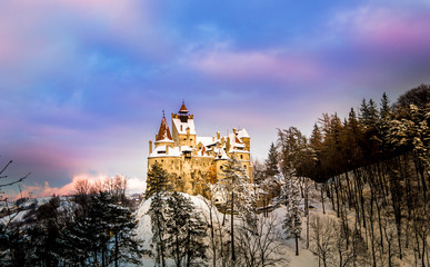 Wall Mural - Sunset light over medieval dracula Bran castle in Brasov, Transylvania,  Romania