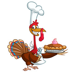 Thanksgiving turkey chief cook serving pumpkin pie. Vector cartoon