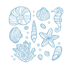 Set seashell, coral, seahorse, starfish and rocks isolated on white background.