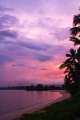 Sunrise on the beach on the north shore of Oahu Hawaii
