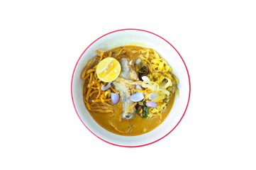 Noodle  Khao Soi thai food style  on white background,food style Northern Thailand ,Isolated on white