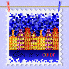 Amsterdam houses in the night card