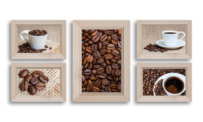 Collage of five wooden photo frames with coffee motif posters.