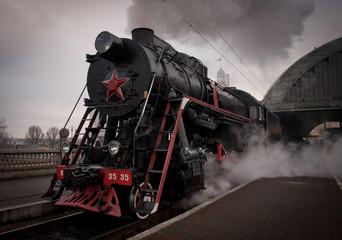 UKRAINE, LVOV - DECEMBER, 19 2015: Old steam locomotive L 3535 go to the route