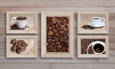 Collage of five wooden photo frames with coffee motif posters on wooden panels background, coffee shop interior decor