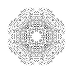 Floral lace motifs. Mandala. Zentangl relaxation. Hand drawn background. Ethnic, national image. Heart. Coloring