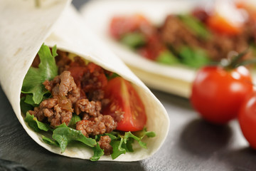 homemade tortilla with beef, frillice and vegetables