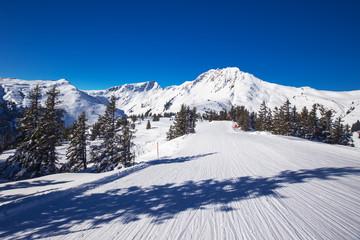 Ski slopes in Kitzbühel ski resort in Tyrolian Alps, Austria