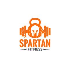 barbell sparta fitness concept logo icon vector template