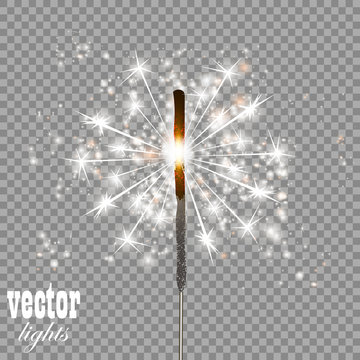 Christmas sparkler isolated on transparent background
