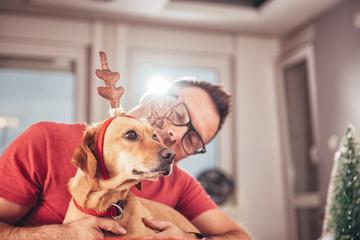 Man and dog at home