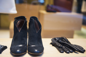 Shoes and accesories in a clothing store