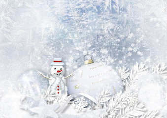 Winter icy background with Christmas decorations and snowman