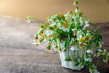 white flowers in basket on wooden table with brown paper background