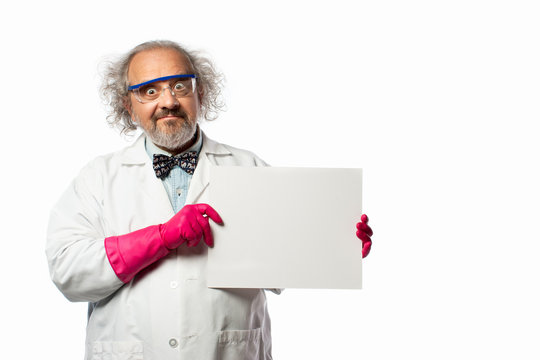 Scientist Holding a blank sign