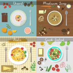 Different dishes vector set.