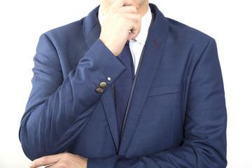 男性 ビジネスマン イメージ考える 顎に手 顔ナシ ボディパーツ