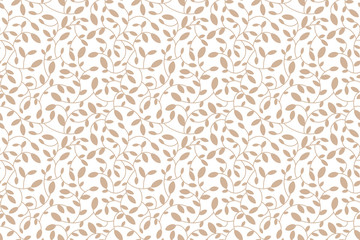 Floral seamless pattern. Brown leaves and sprouts. Transparent background. Vector. Print for textile or web
