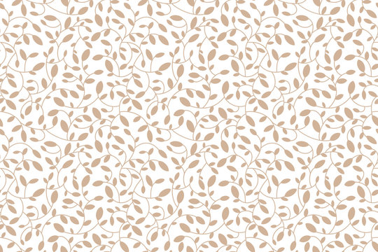 Floral seamless leaf pattern. Brown beige leaves and sprouts. Illustrated background. Vector. Print for textile or web