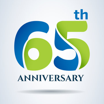 65th years anniversary label and sign, vector and illustration