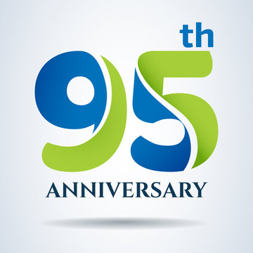 95th years anniversary label and sign, vector and illustration