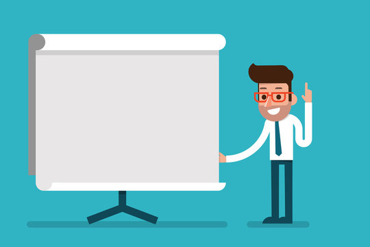 Business Man holding whiteboard - presentation.