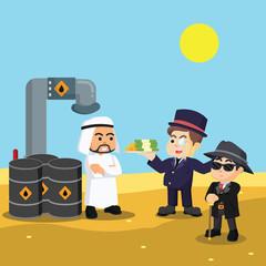 rich man buying oil from arabian