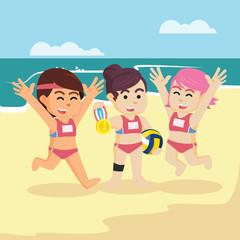 volleyball match champion illustration design