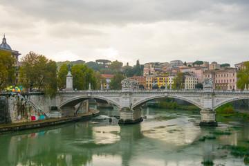 Ancient Bridges over River Tiber in Rome