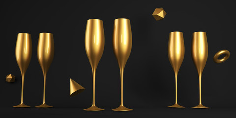 Champagne Golden Glass 3D rendering