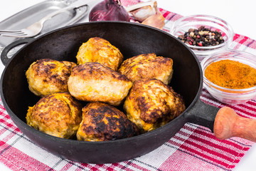 Healthy and Diet Food: Chicken Cutlets with Pumpkin
