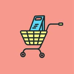Vector icon design a flat basket, shopping cart.