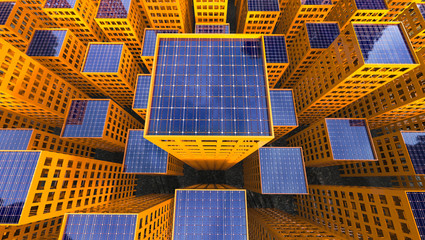 Sustainability Solar Power concept City 3d Illustration