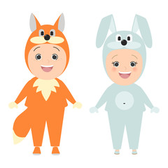 Children in carnival costumes of animals. Fox boy, girl bunny. Vector cartoon