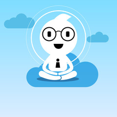 abstract businessman creative people character sitting practice