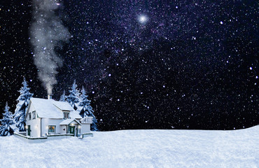 Christmas card. Night, the house, the starry sky, snow background. Copy space.