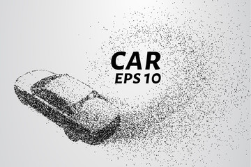 Car from the particles. Car crumbles into small dots and circles.
