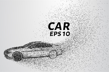 Car divergent composition of the particles. Cars consists of small circles carried by the wind.
