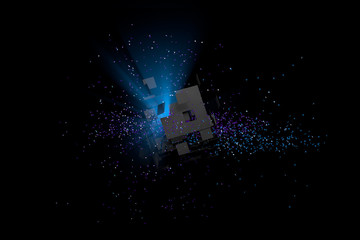 Abstract Background. Broken Cube, Particles in Space.