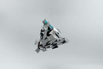 Abstract background. Broken triangle with dynamic lines in space.