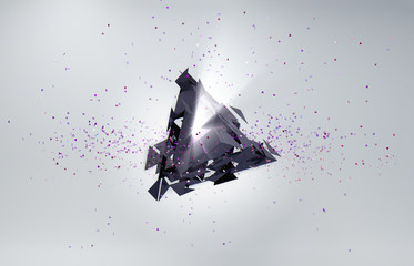 Abstract background. Particles in space with broken triangle.