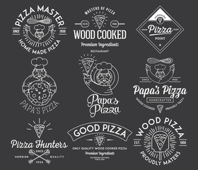 Handmade and wood cooked pizza white on black