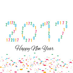 Happy New Year 2017 background.Colorful greeting card design.Vector illustration for holiday design. Party poster, greeting card, banner or invitation template