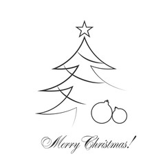 Christmas tree card with balls, star. Cartoon icon. Black silhouette decoration sign, isolated on white background. Flat design. Symbol holiday, Christmas, New Year celebration Vector illustration