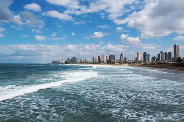 Stormy Mediterranean sea at Tel Aviv, Israel.